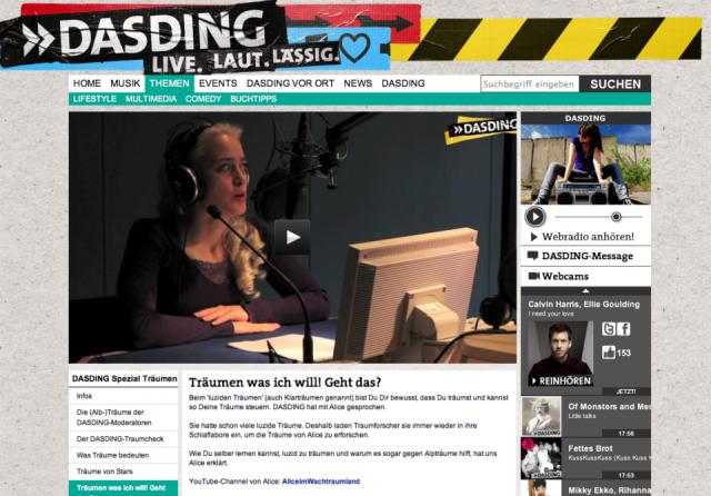 Alice Grinda wird von DasDing interviewt über das luzide Träumen