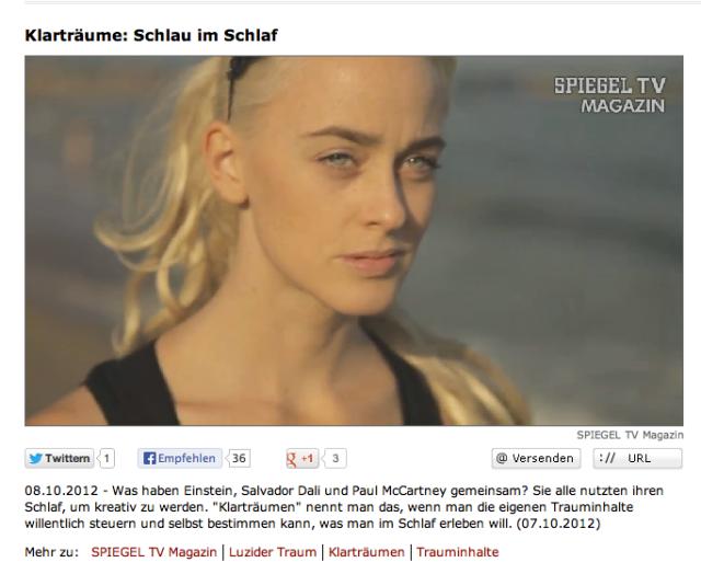 Alice Grinda / Alice im Wachtraumland erzählt bei Spiegel TV über das luzide Träumen.