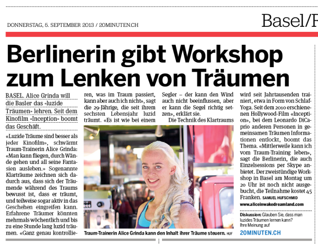"""""""Berlinerin gibt Workshop zum Lenken von Träumen"""" (in Basel – Schweiz)"""