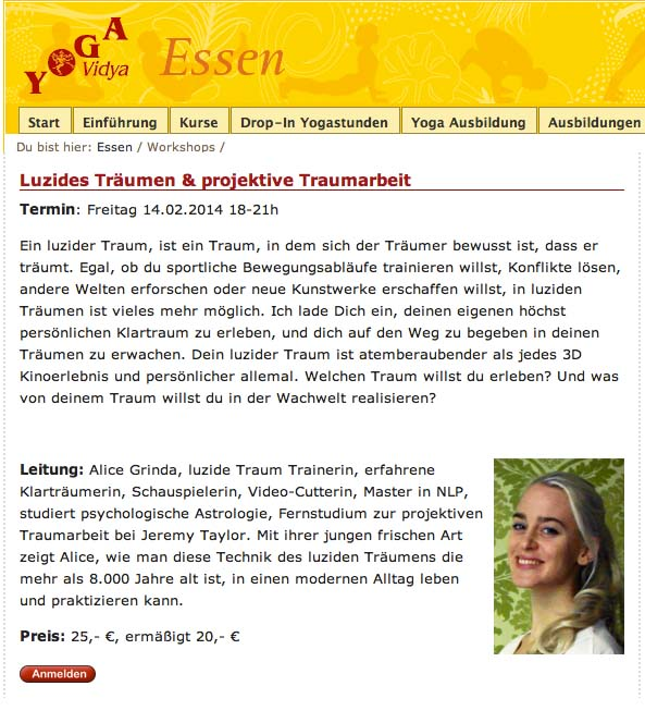 """Luzides Träumen & projektive Traumbarbei"" imYogavidya in Essen."